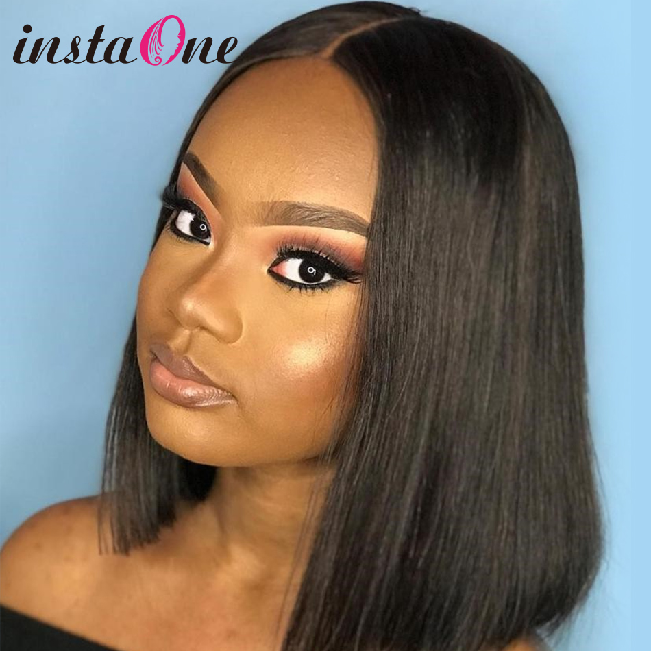 Instaone 8 24Inch Lace Front Human Hair Wigs Straight Brazilian 4x4 Bob Short Closure Wigs For