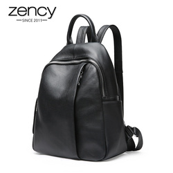 Zency Anti-theft Design Women Backpack 100% Genuine Leather Classic Black School Bag For Girls Daily Casual Travel Bag Knapsack