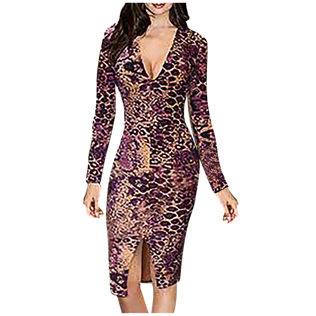 2020 dress Women New Brand Sexy Leopard Print Patchwork V-Neck Long Sleeves Slitsexy vintage ropa mujer