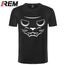 Devil Cat T-shirt Golf Het Hart Lijn Hip Hop Lover Cool Tees 100% Katoen Zwart Hip Hop Tshirt(China)