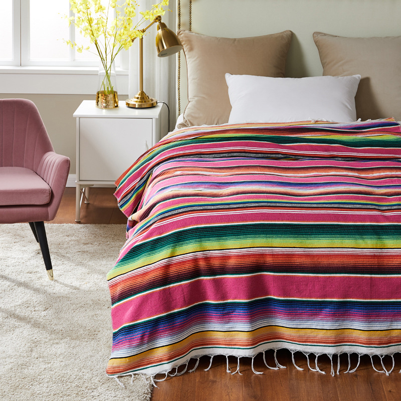 Mexican Indian Handmade Rainbow Blanket Ethnic Style Beach Cotton Blanket Home Tapestry table runner beach towel Sofa cushion image