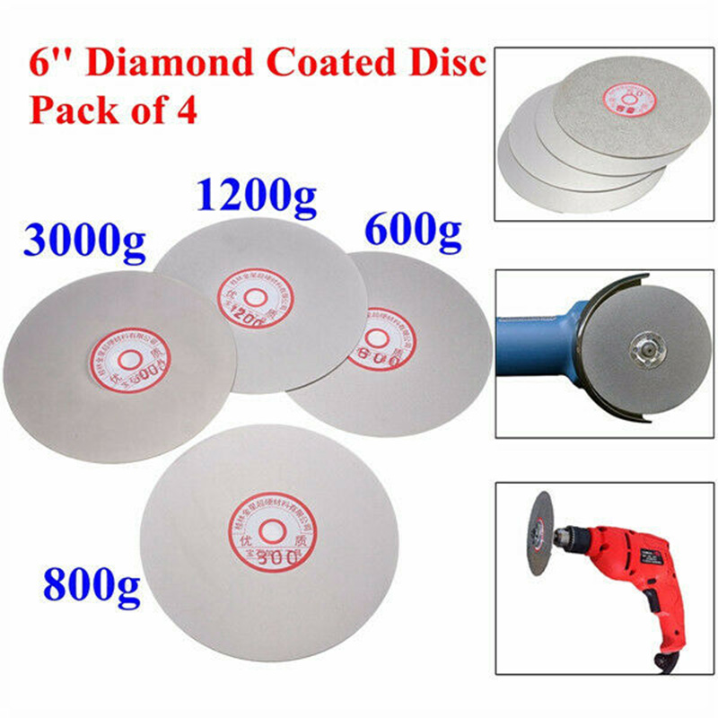 Hot Sale 4Pcs 6 Inch 600/800/1200/3000 Grit Flat Lap Wheel Lapping Grinding Disc For Grinding Pad Tool Power Tool Accessories