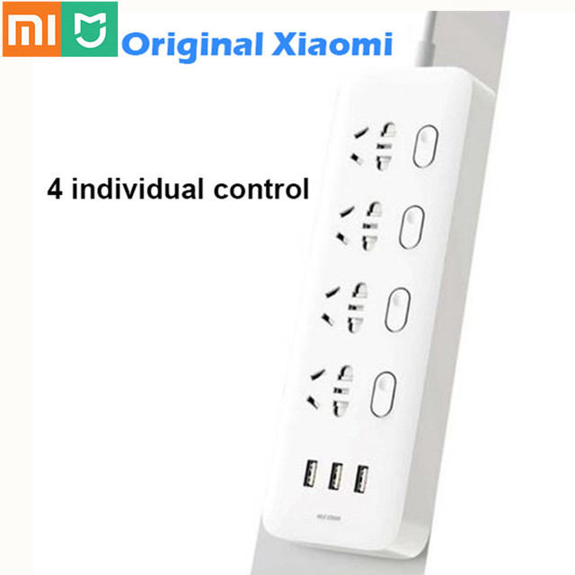 100% Xiaomi Socket Mijia Power Strip Sockets 4 Individual Control 3 USB 5V 2.1A Fast Charging Extension Sockets With Safety Door