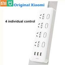 100% xiaomi tomada mijia power strip soquetes 4 controle individual 3 usb 5 v 2.1a rápida de carregamento soquetes extensão com porta segurança