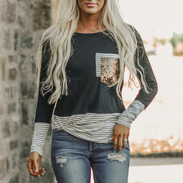 Fashion Striped Sequins Blouse Patchwork Casual Winter Ladies Loose Bottom Tops Female Women Long Sleeve Shirt Blusas Pullover 1