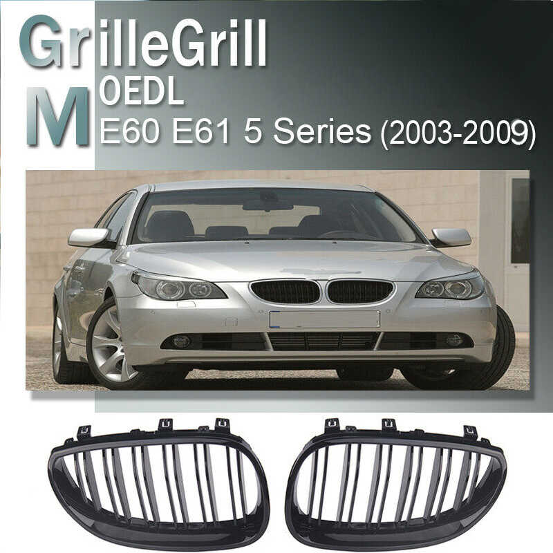 Left /& Right Front Bumper Kidney Grilles Hood Grill For BMW E60 E61 5 Series M5 2003 2004 2005 2006 2007 2008 2009 2010 Silver