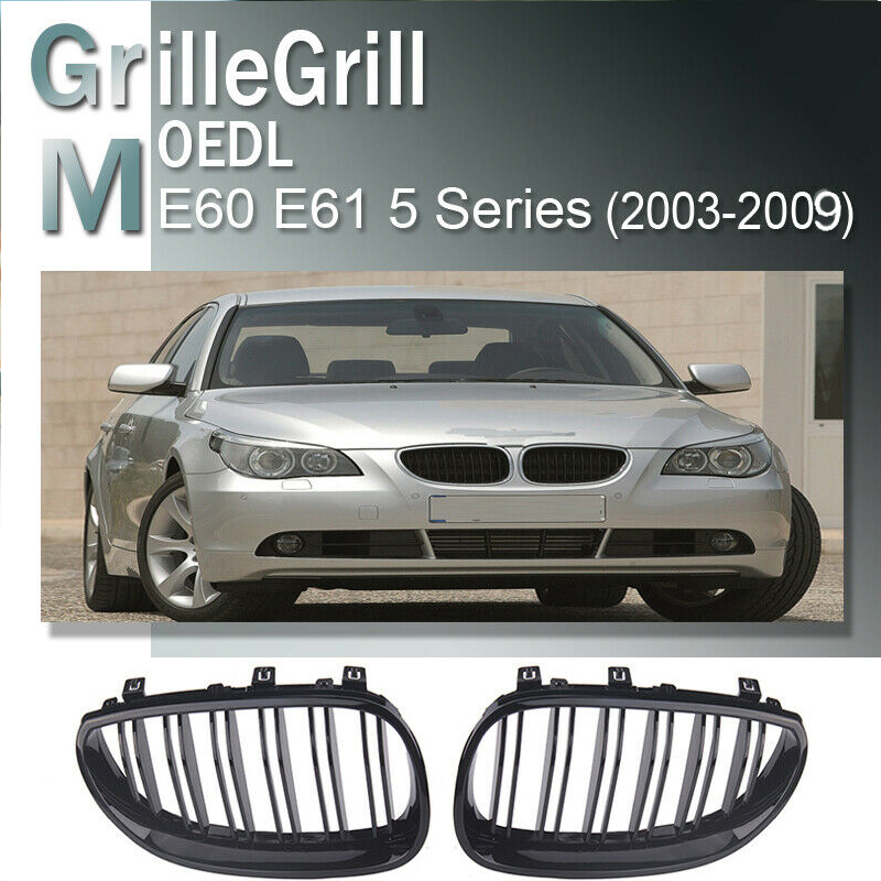 Car Front Sport Grill Kidney Grilles Grill For <font><b>BMW</b></font> <font><b>5</b></font> <font><b>Series</b></font> <font><b>E60</b></font> 2003 2004 2005 2006 2007 2008 2009 Matte Black Replacement image