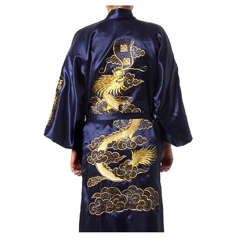 Soft Embroidery Dragon Robe Intimate Lingerie Men Pajamas Traditional Plus Size 3xl Sleepwear Nightwear Kimono Bathrobe Gown