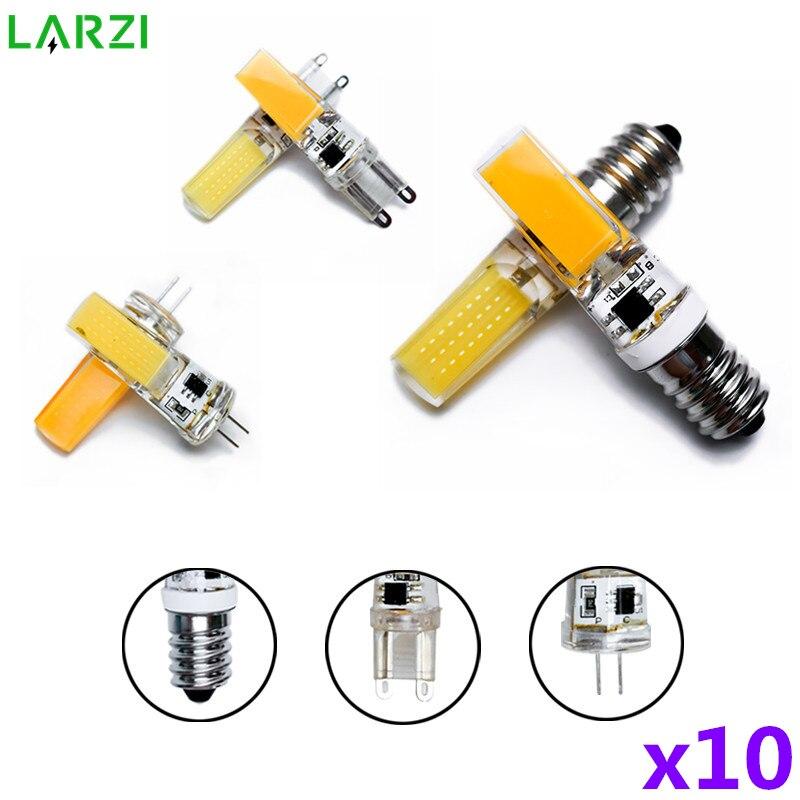 10pcs/lot LED G4 G9 E14 Lamp Bulb AC/DC Dimmable 12V 220V 3W 6W COB SMD LED Lighting Lights replace Halogen Spotlight Chandelier