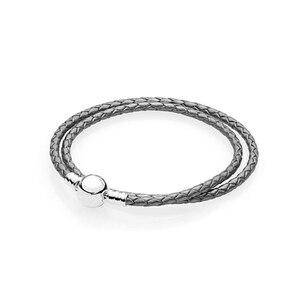 Фирменные круглые застежки с жемчугом серые кожаные браслеты DIY ювелирные изделия плетеные веревки для женщин и мужчин браслет ювелирные и...