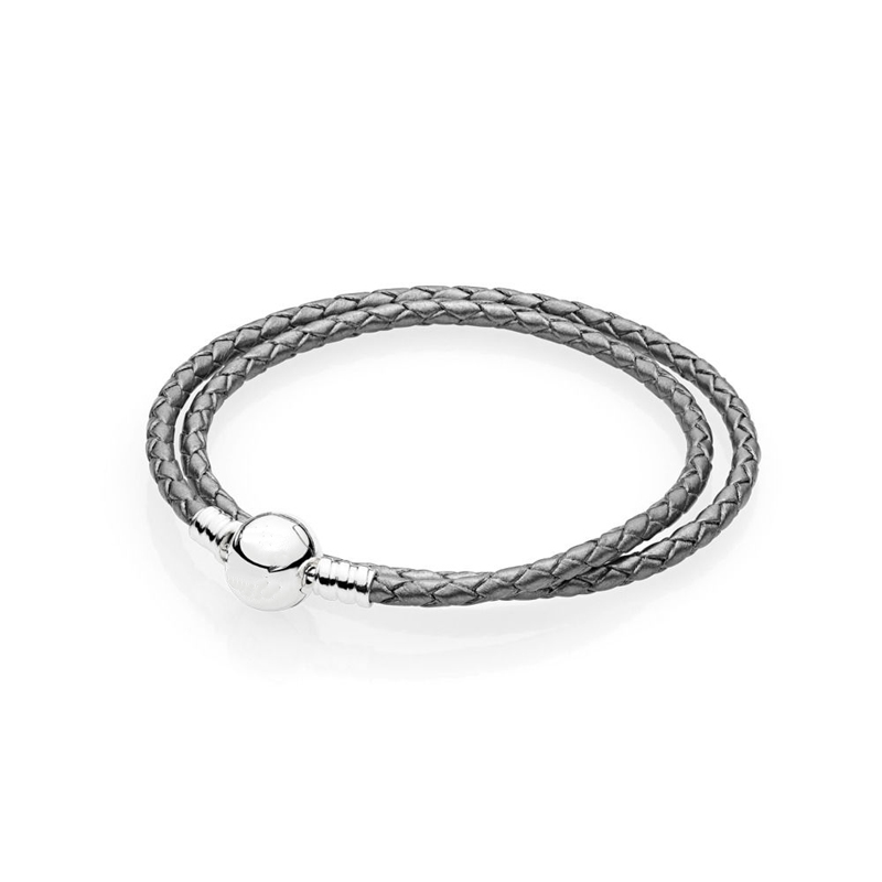Silver Grey Leather Bracelets Silver 925 Signature Round Clasp DIY Jewelry Braided Rope Women & Men Bracelet Jewelry Woven Chain