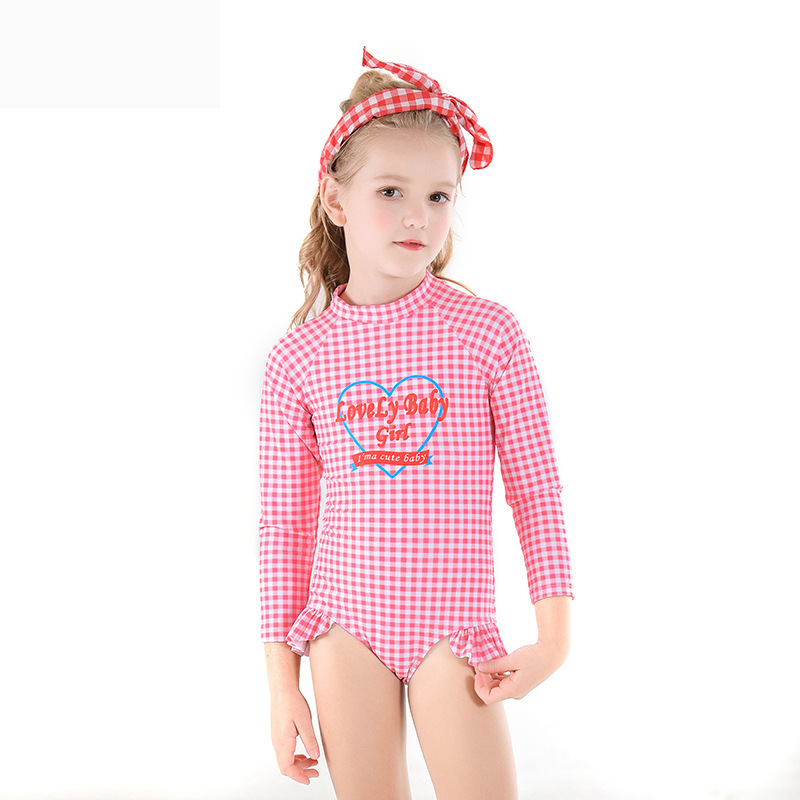 2019 Europe And America New Style Hot Sales KID'S Swimwear One-piece Long Sleeve Sun-resistant Plaid Small Stand Collar Cartoon