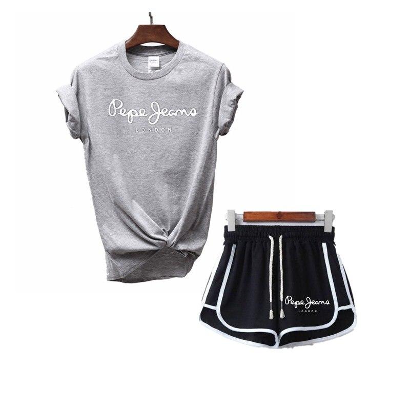 Tees Women T Shirt Print Letter T-shirt Casual White Black Pink Short Sleeve Cotton Tops 2019 Spring Summer Luxury Brand+shorts