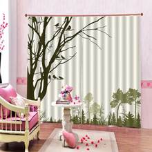 Custom Birds Shower Curtain Silhouette of Animal in Foggy Forest Animals in Nature Themed Cartoon Dusk Blackout Drapes(China)