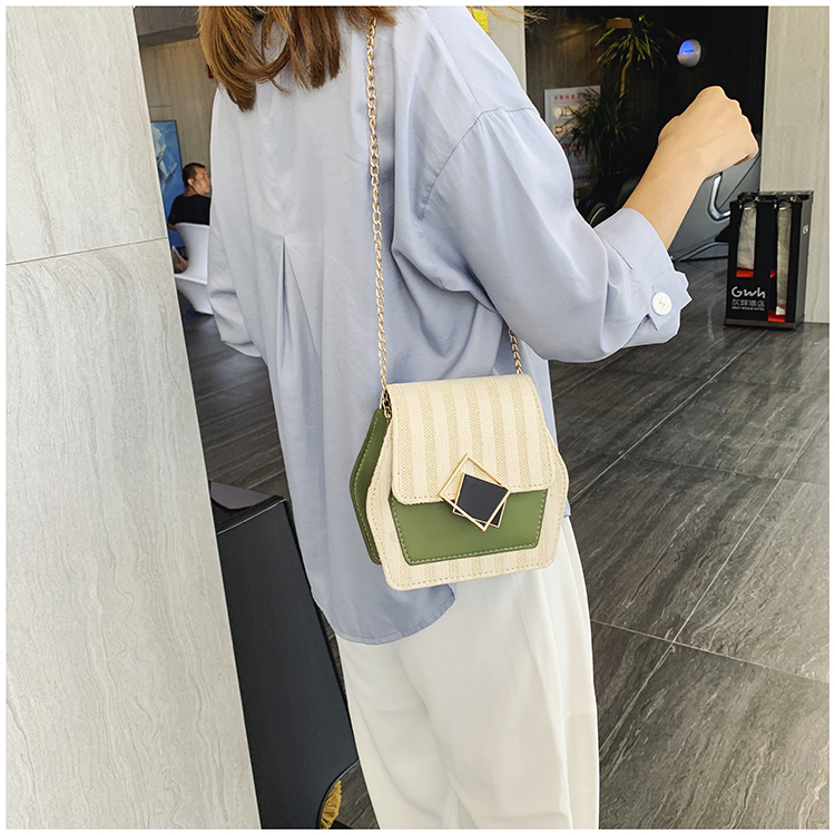 Mini Bag Girl 2019 New Korean Edition Fresh and Popular Fashion Chain PU Slant Bag Personal Bag Mobile Geometric Bag Clothes 90