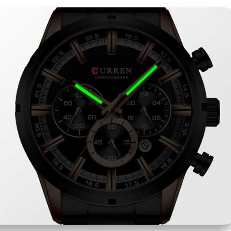 CURREN นาฬิกาแฟชั่นผู้ชายใหม่สแตนเลสด้านบนแบรนด์หรูกีฬา Chronograph นาฬิกาควอตซ์ผู้ชาย Relogio Masculino