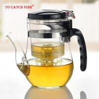 Gorąca sprzedaż  500 750ml szkło odporne na ciepło dzbanek na herbatę herbata kwiatowa zestaw czajnik do pu erh czajnik do kawy wygodne biuro Teaset  zestaw kung fu w Dzbanki do herbaty od Dom i ogród na