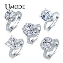 UMODE 2019 New High Quality Crystal Ring Silver Color Wedding Rings For Woman Luxury Full Zircon Jewelry Gifts Girls