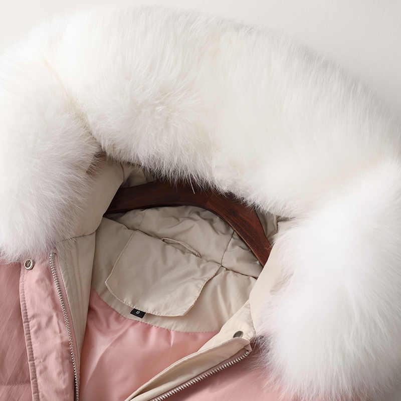 Tcyeek/толстая теплая Женская куртка-пуховик + большое пальто из лисьего меха с капюшоном в Корейском стиле, зимнее пальто с розовым утиным пухом, длинное пальто, Hiver LR2182