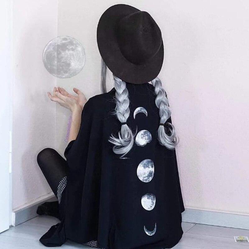Crescent Moon Pattern Print Capes Cloak Female Women Dark Gothic V-neck Loose Long Bat Sleeved Ponchos