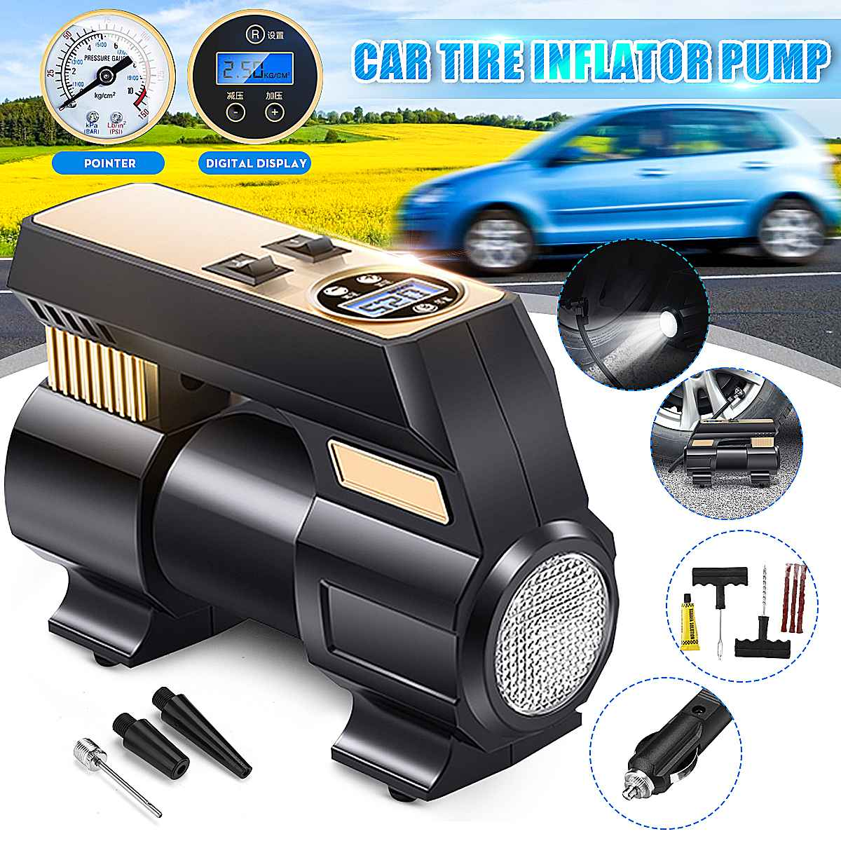 12V 120W Electronic Digital Portable Car Wheel Tire Inflatable Pump Inflator Air Compressor Electric Inflating Machine Nozzle