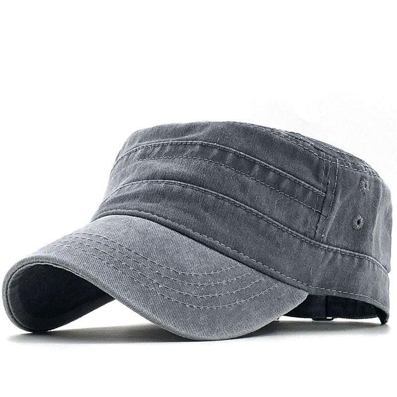 Simple Military cap 100% cotton flat top Hat for men Vintage Army Hat Cadet Military Patrol Cap outdoor fishing cap