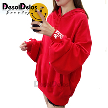 2019 New Women Clothes Korean Hoodie Hooded Pullovers Puff Sleeve Sweatshirt Thin Yellow Loose female