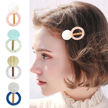 Cool color Hollow Geometric Round Shape Acetate Hairpins Hair Accessories Girls Hairgrips