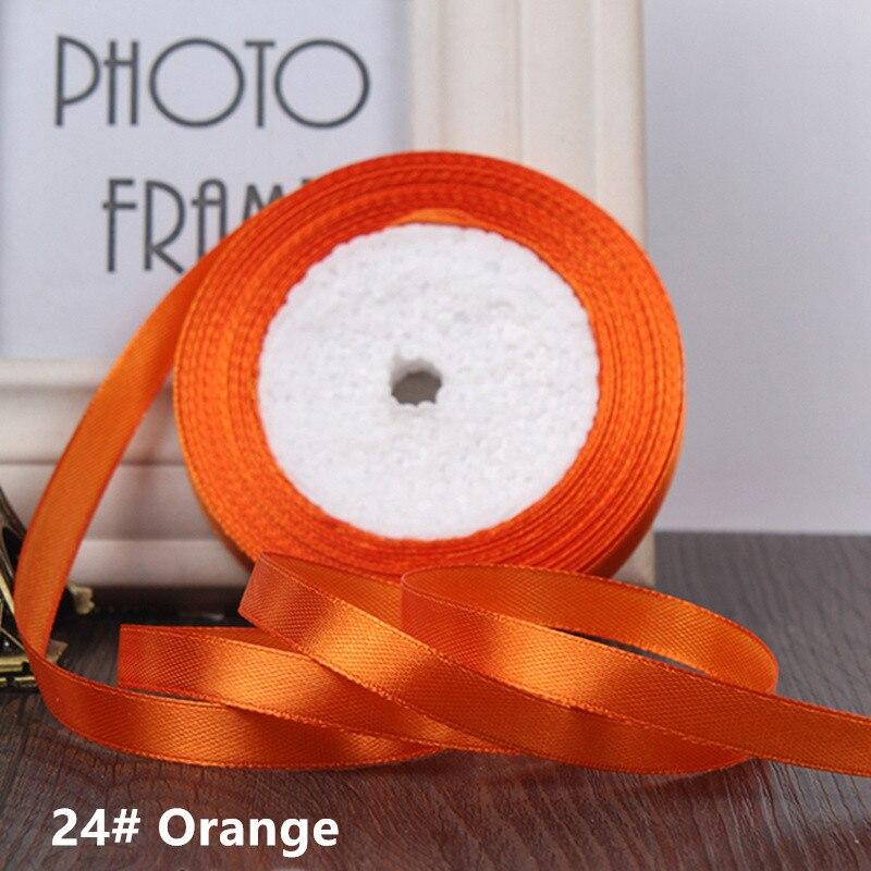 25 ярдов/рулон 6 мм 10 мм 15 мм 20 мм 25 мм 40 мм 50 мм шелковые атласные ленты для рукоделия бант ручной работы подарочная упаковка вечерние свадебные декоративные - Цвет: 24 Orange