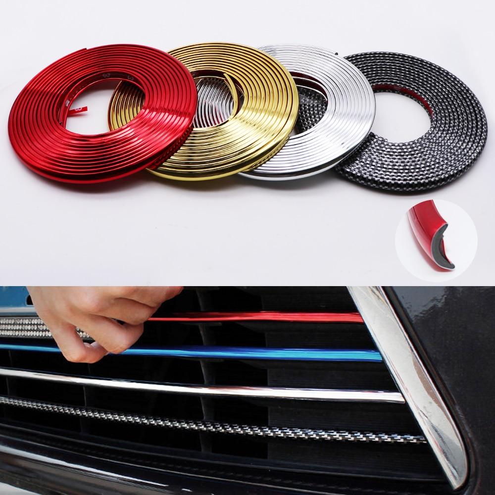 4M/8M Car Bumper Styling Moulding Trim Strip Wheel Hub Protection Red Carbon Fiber Grille Impact Decorative Strip Accessories