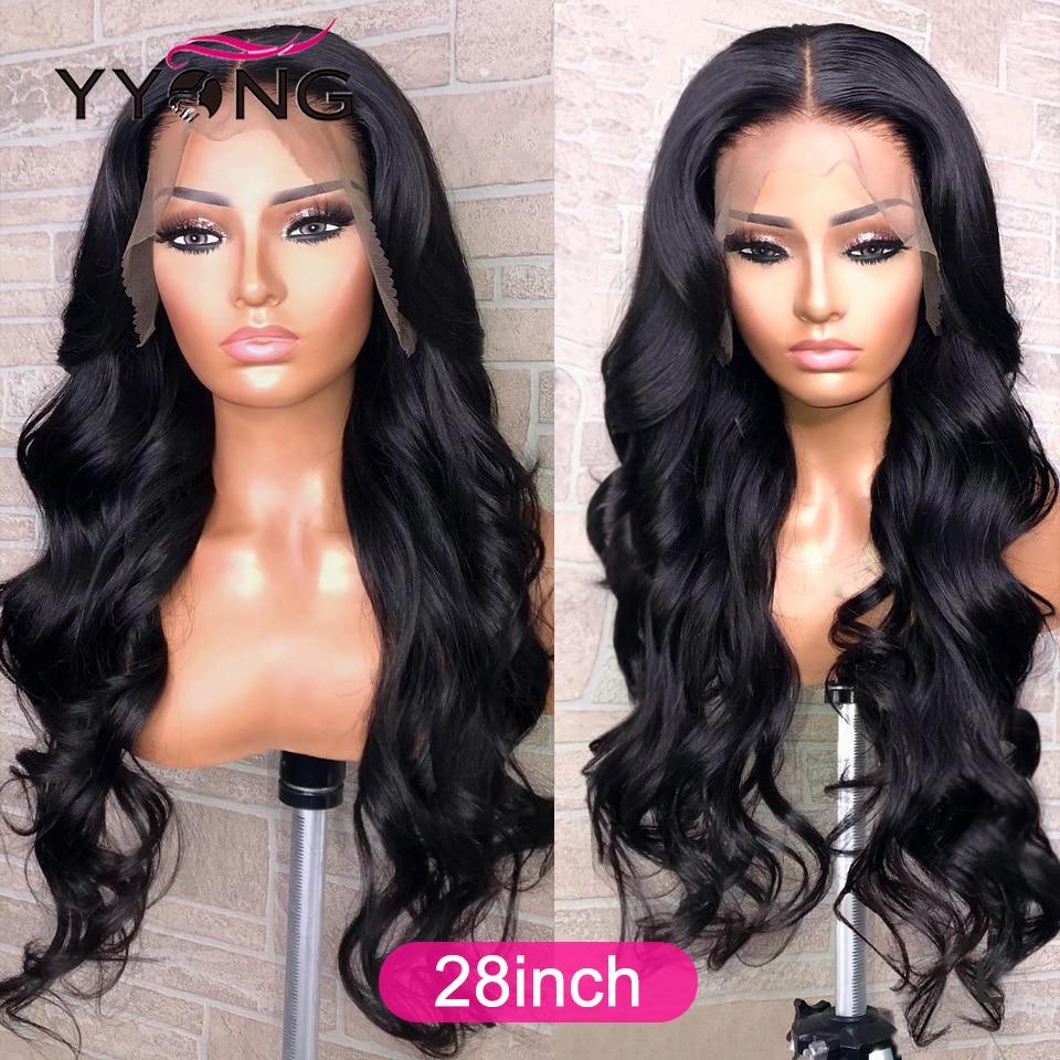 YYong 28inch 1x6 Topline Lace Wig  Body Wave T Part Lace  Wigs HD Transparent  Lace Wig Middle Part 4