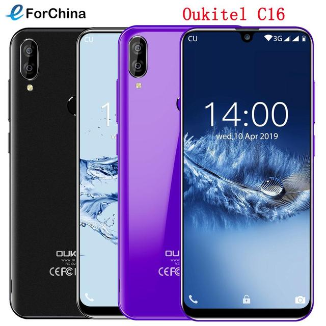 "Oukitel C16 Android 9,0 pastel Smartphone cara ID 5,71 ""19:9 gota de agua pantalla 2GB RAM 16GB ROM MT6580P Quad Core 4G teléfono móvil"