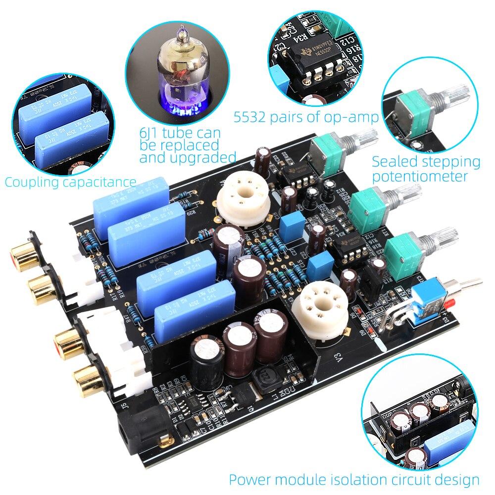 Amplificateur à Tube platine vinyle aluminium enregistreur universel 6J1 préamplificateur casque Mini maison HIFI DC12V1A Support TV DVD DAC téléphone - 6