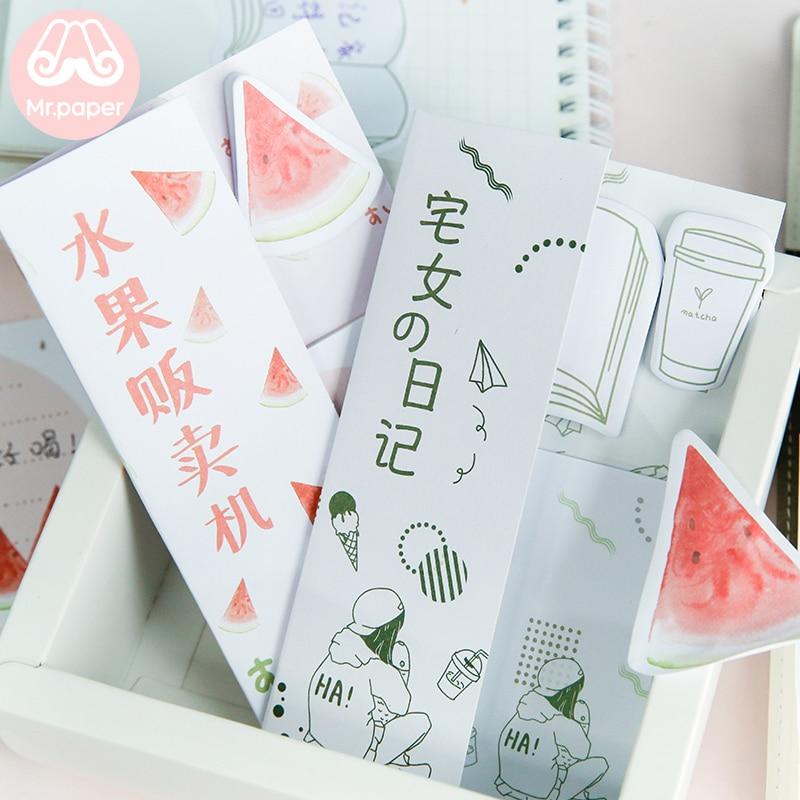 Mr Paper 72pcs/lot Watermelon Juice Carp Sakura Set For Diary Creative Folded Memo Pad Notepad Self-Stick Note Writing Memo Pads