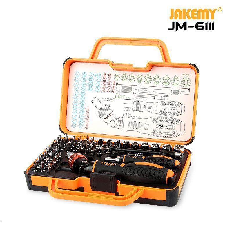 Set In Screwdriver 6111 Home With JM Vanadium Tool 69 1 Hand Tools JAKEMY Ratchet 180 Bits DIY Chrome Degrees