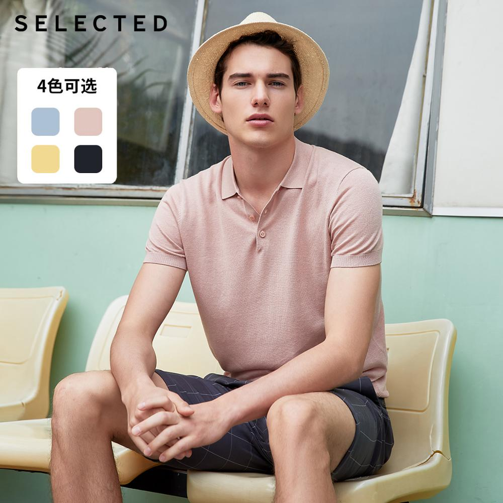 SELECTED Men's Pure Color Turn-down Collar Short-sleeved Poloshirt S|419206547