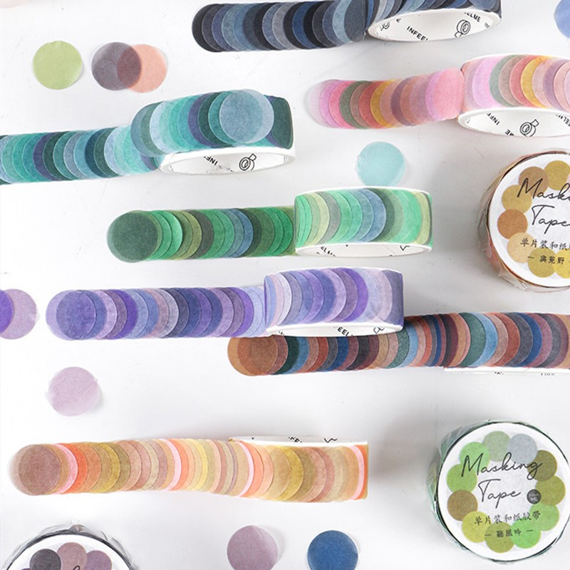 100pcs/roll Morandi Color Dot Washi Masking Tape Round Stickers Dot Stickers Decorative Sticky Paper Tapes For Scrapbook Planner