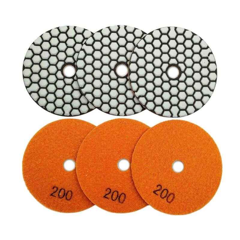 6Pcs 4 Inch /100Mm Grit #200 Diamond Flexible Dry Polishing Pad Granite & Marble Stone Sanding Disc Resin Bond Polisher Pad
