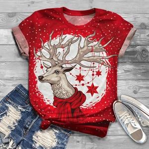 #R40 Red ElkPrint Christmas T Shirt Women Plus Size Tshirt Women NewYear Short Sleeve Christmas O Neck Tops Tee T-Shirt