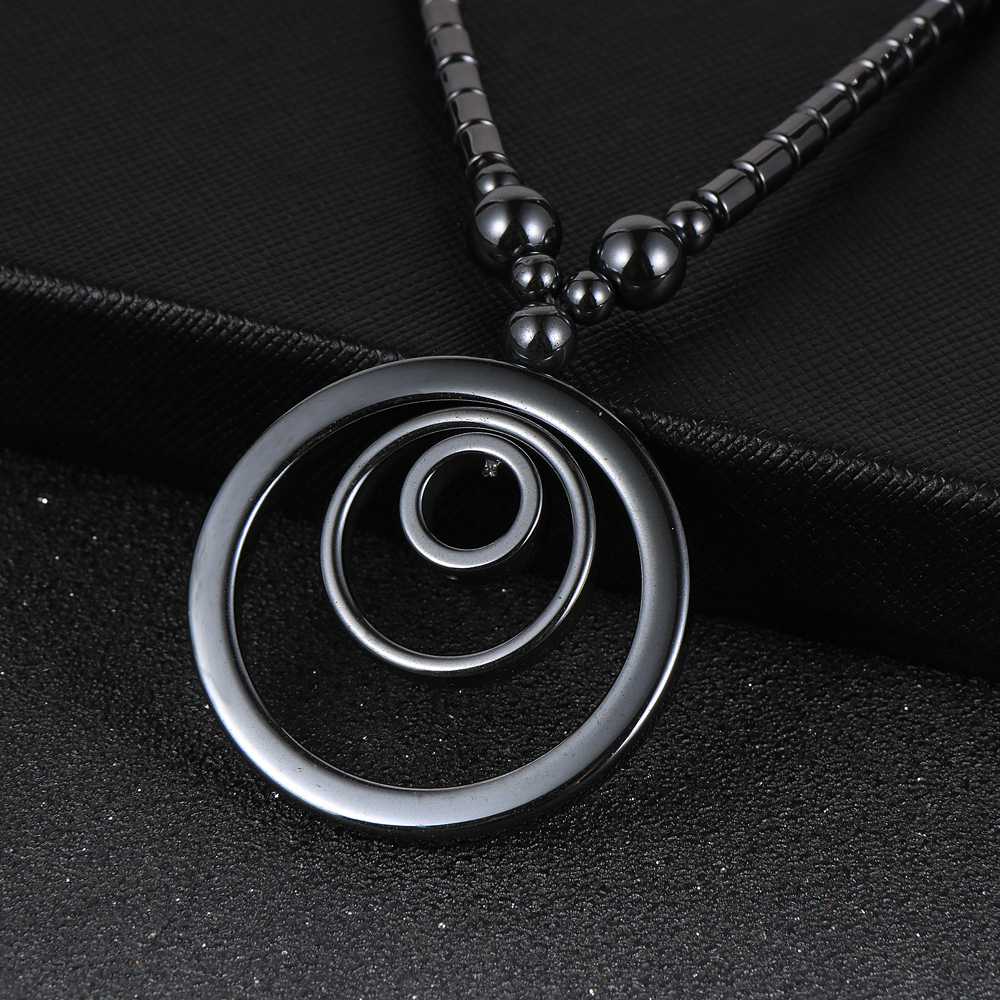 """Natural Stone Black Hematite Round Circle Pendant Necklace 18"""" """"Fashion Women Choker Necklaces Chain Trendy Ladies Party Jewelry"""