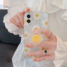 Phone Case Transparent Sunflower Happy Face Cases For iPhone 12 11 Pro Max XR X XS 7 8Plus Cute Glitter Sunflower holder Cover