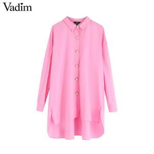 Image 2 - Vadim נשים אופנתי מוצק סדיר חולצות גדול ארוך שרוול חולצות נקבה מקרית loose ארוך סגנון חולצות blusas mujer LB760