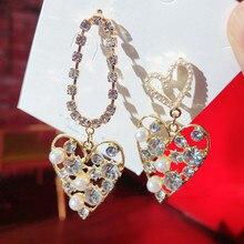 MENGJIQIAO-Pendientes de gota de cristal con forma de corazón para Mujer, aretes, perlas asimétricas, joyería, moda coreana