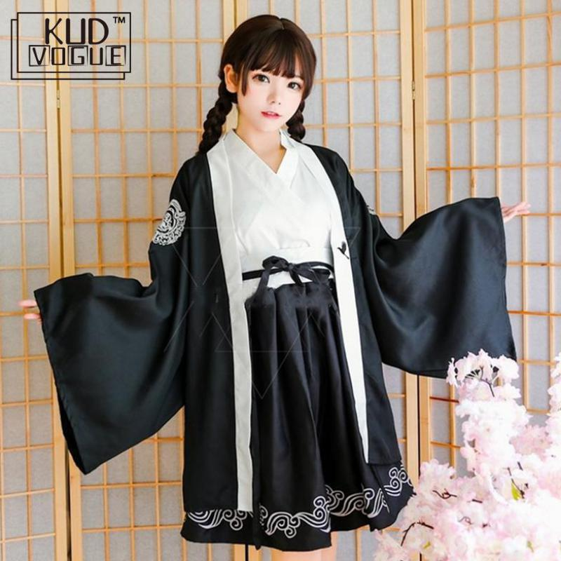 Kimono Japanese Yukata Dark Samurai Crane Girls Gothic Dress For Women Festival Of Sakura Haori Full Short Sleeve Halloween Cos