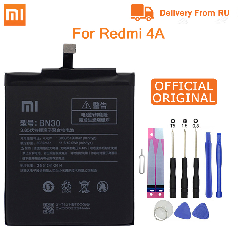 Xiao Mi Phone For Xiaomi Redmi 4A Battery BN30 3120mAh Redrice 4A Hongmi 4A Bateria  High Quality+Tools