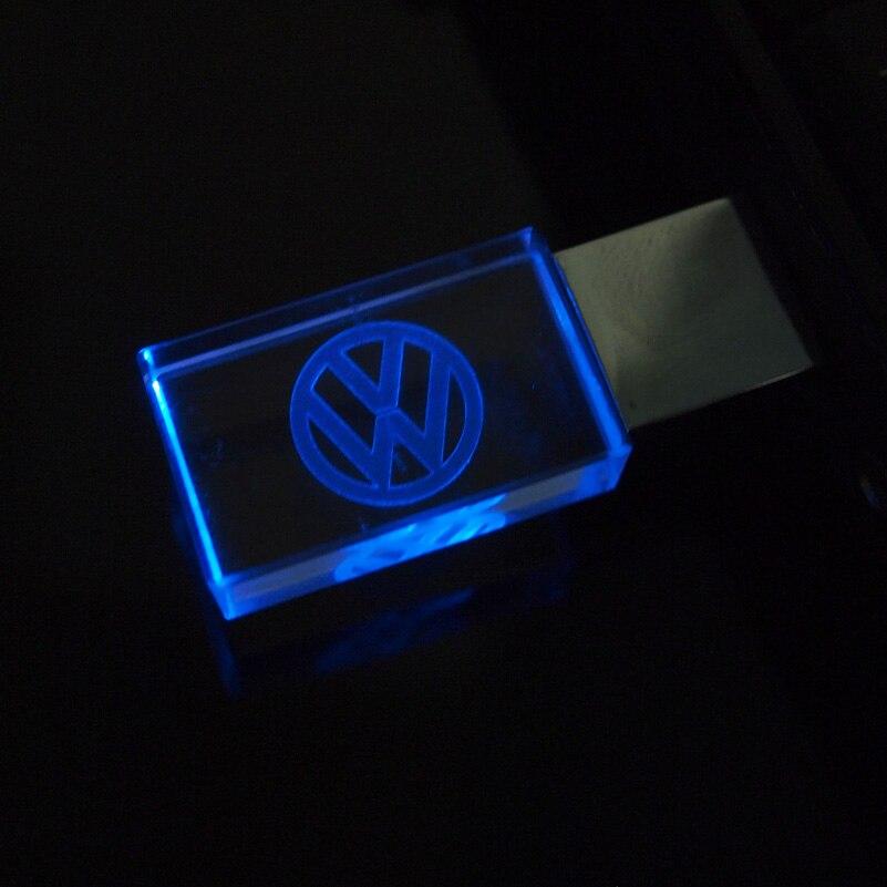 Aanpassen Vw Auto Logo Fashion Crystal Usb Flash Drive Met Led Pendrive 2.0 4Gb 8Gb 16Gb 32gb Huwelijksgeschenken Pen Drives Cle Usb 3
