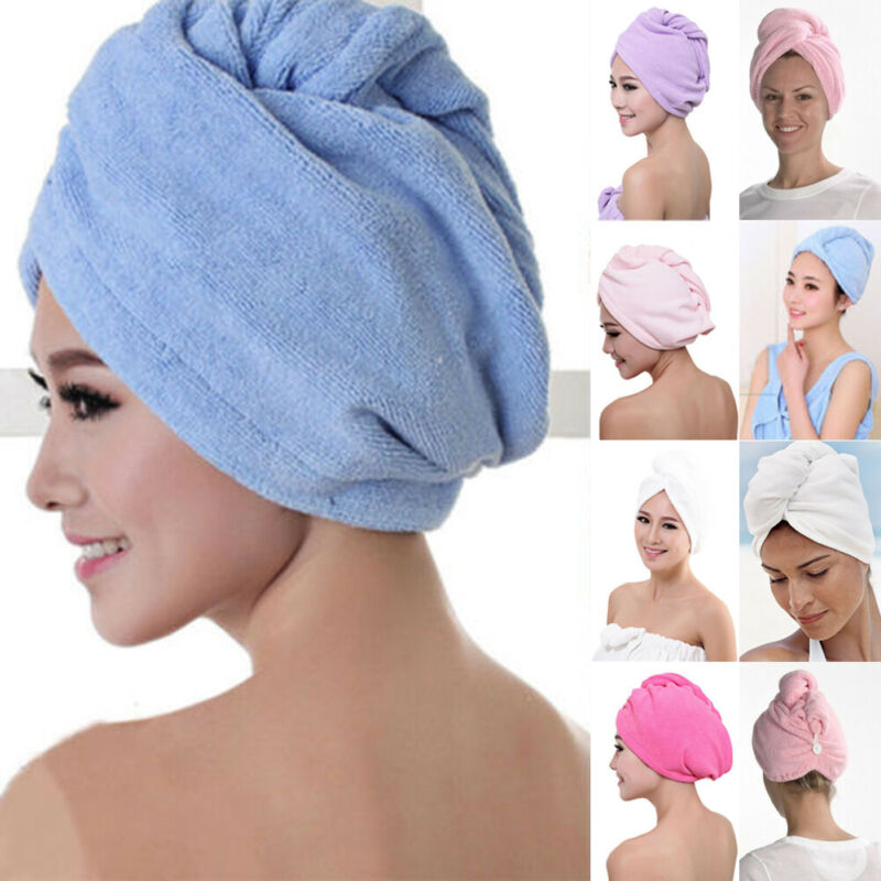 Water Absorption Of Dry Hair Cap Shower Cap  Hot Sale LARGE QUICK DRYING HAIR TURBAN MICROFIBRE HAIR WRAP BATH TOWEL CAP HAT