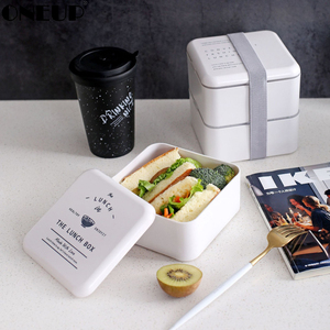 ONEUP Lunch Box Square 2Layer Portable Bento Box Exquisite Pattern Leakproof Food Container For Picnic Student Office Worker