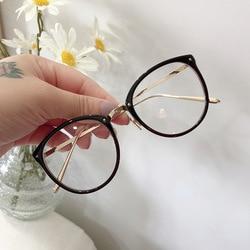 Optical Glasses Frame Women Men Round Oversized Eyeglasses Frames Metal Spectacles Clear Lenses Glasses