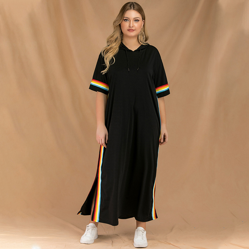 2019 Spring And Summer New Style Western Style Fashion Slit X-long Large Size Dress Fat Mm Stripes Cross Border Dress